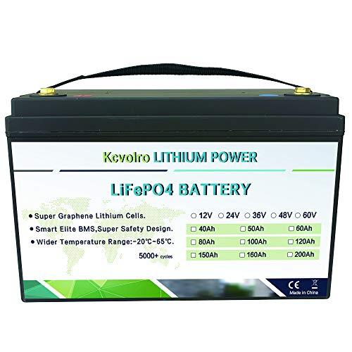 Batería de fosfato de litio de 12 V y 100 Ah, más de 3000 ciclos, batería ligera LiFePO4, batería de repuesto para energía solar, vehículos recreativos, vehículos eléctricos y aplicaciones marinas