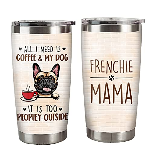 FAMCUSTOM 20oz French Bulldog Frenchie Mom Insulated Travel Mug Stainless Steel Tumbler With Lid, Double Vacuum Coffee Tumbler Cup, Travel Coffee Mug