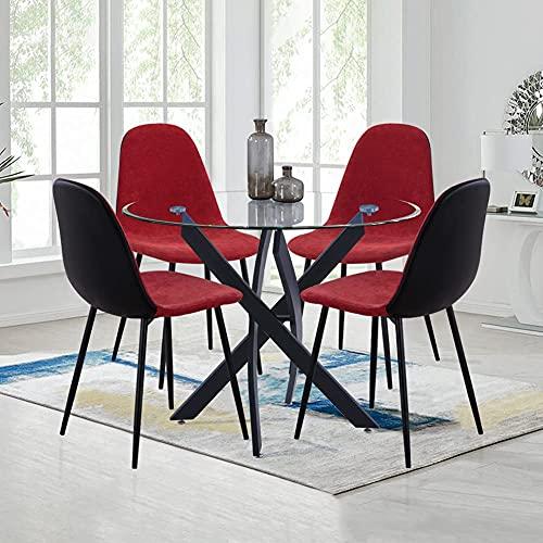 GOLDFAN Esstisch und 4 Stühle Esszimmergruppe Glas Tisch Rund und Rot Stuhl für Wohnzimmer Küche Büro