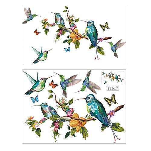 Garneck 2 Stks Vlinder Vogel Stand Takken Muursticker Muurkunst Sticker Achtergrond Behang Schil en Stok Voor Babykamer Slaapkamer Decoratie