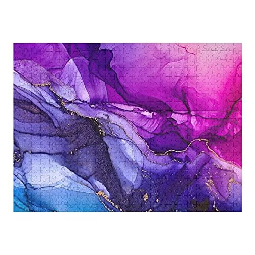 Houten puzzel 500 PCS voor volwassenen en kinderen, abstracte paarse verloop kleur moeilijke uitdaging intellectuele…