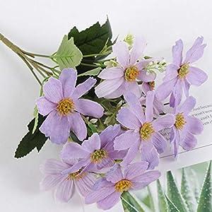 Silk Flower Arrangements Artificial and Dried Flower Home Decoration Artificial Flower Cherry Blossom Cosmos Silk Flower Bouquet - ( Color: Violet )