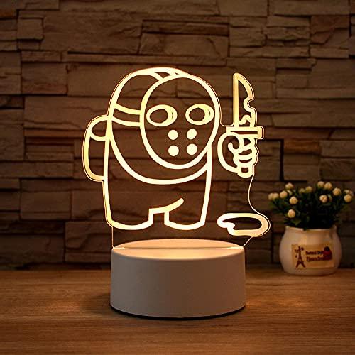 Luz Nocturna ,Lámpara De Ilusión Óptica Led 3D Con Placas Acrílicas De Patrones,Lámpara De Visualización Creativa Usb Regalo Para Niños,Asesino De Máscara