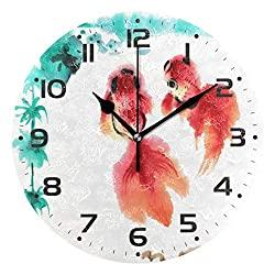 ZZKKO Japanese Koi Bamboo Wall Clock Quartz Analog Quiet, 9.5 Inch Round Desk Clock Battery Operated Easy to Read Decorative for Kitchen Bedroom Bathroom Living Room Classroom