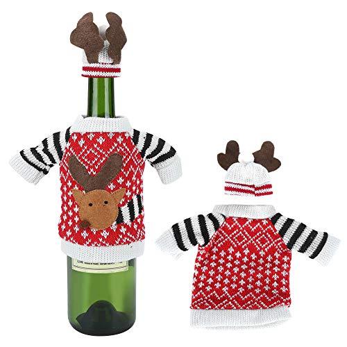 Copri bottiglia di vino, 2 pezzi/set carino alce natalizio bottiglia di champagne elasticità maglia maglione per decorazioni per feste (15x12 cm/5.9x4.7in)