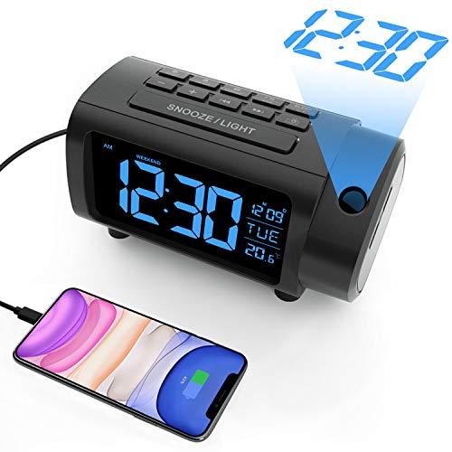 LIORQUE Projektionswecker Digital Wecker mit Projektion Auto-Aus Einstellung, Temperatur, FM-Radio, USB-Anschluss, 2-Farb-Ziffern und 4-Stufe-Heilligkeit, Wochenendemodus, Schlummerfunktion (Schwarz)
