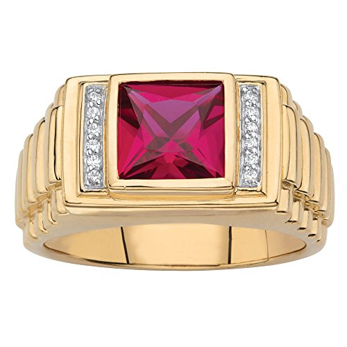 Men's 18K Yellow Gold over Sterling Silver Simulated Red Ruby and Diamond Accent Ring Size 11
