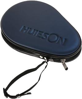 HOMYL Waterproof Material Table Tennis Racket Hard Case Ping Pong Bat Bag Cover Hold 2 Paddles Silver Dark Blue