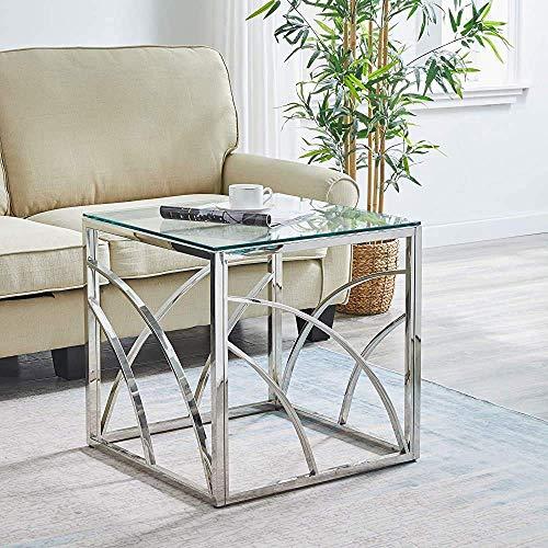 JXJ Runder Wohnzimmer Couchtisch Glas Couchtisch Edelstahl, rund 50 cm, silberner Beistelltisch B.