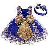 FYMNSI Vestido de fiesta para bebé, para cumpleaños, bautizo, sin espalda, bordado, sin mangas, formal, con cinta para la frente., Azul Oscuro + Encaje, 6-12 Meses