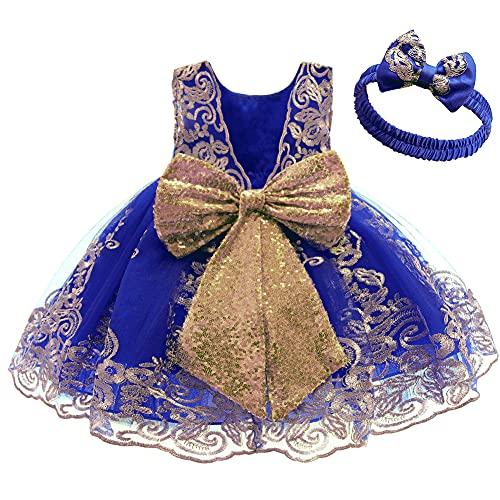 FYMNSI Vestido de fiesta para bebé, para cumpleaños, bautizo, sin espalda, bordado, sin mangas, formal, con cinta para la frente. Azul Oscuro + Encaje 2-3 Años