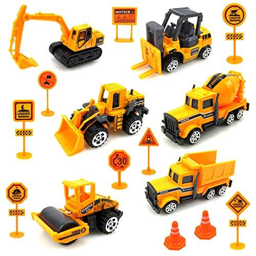 Sunarrive Baustellenfahrzeuge mit Baustellenschild - Baufahrzeuge Mini Bagger für Torte - Baustelle Fahrzeuge Minibagger Spielzeugauto Set - Kleine Spielzeug Auto für Kinder Junge Mädchen ab 3 4 Jahre