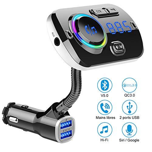 FM Transmitter Bluetooth 5.0, Auto Radio Bluetooth Adapter 7 Farben Music Player Car Kit mit Freisprechfunktion und 2 USB-Anschlüssen. Ladegerät unterstützt USB-Laufwerk/TF-Karte/AUX