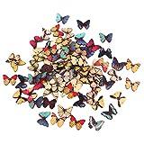Colorato Disegno Bottoni In Legno Farfalla Colorati Per Cucire 100pcs Fai Da Te Artigianal...