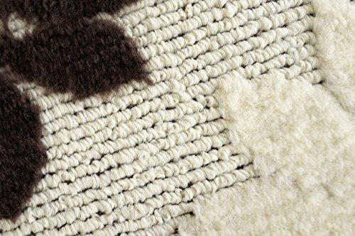 サヤンサヤン洗える抗菌リーフラグマットモチーフレース190x1902畳ブラウン国産