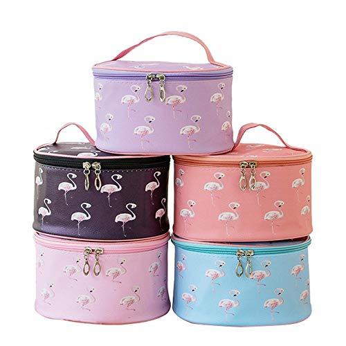 Étui à Maquillage QFERW Flamingo Étanche en Cuir Maquillage Cas Organisateur de Voyage Nécessaire Beauté Vanity Toiletry Wash Makeup Box, Noir