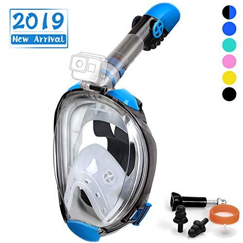 OUSPT Maschera Subacquea per Bambini, Maschera da Snorkeling 180° Vista Panoramica Professionale Anti-Appannamento Anti Fuoriuscita con Cinghie Regolabili per Bambino (XS, Blu)