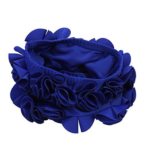 Keenso Blumen-Schwimmen-Hut, Badekappe-Frauen-Kind-Retro Blumenblumen-Mode-elastische Schwimmen-Hut-langes Haar-Schwimmen-Badekappe(Königsblau)