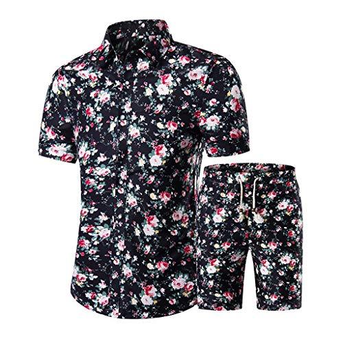 Conjunto masculino floral de 2 peças, camisa havaiana e shorts para homens, terno casual com botões e manga curta (09, M)