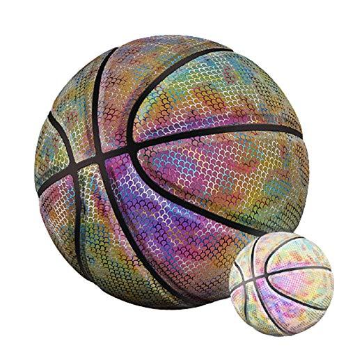QGGESY Baloncesto Luminoso,Brillante Juego Nocturno Reflectante Street PU Glowing Basketball No.7, con Bolsa de Pelota, inflador, Bolsa de Red, Aguja de Pelota,color5
