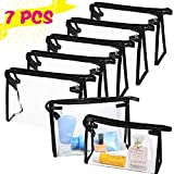 7 PCS Transparent Waterproof Cosmetic Bag,Clear Vinyl Plastic Makeup Bags,PVC Vinyl Zippered Makeup Pouch for Bathroom Organizing and Travel(Black)