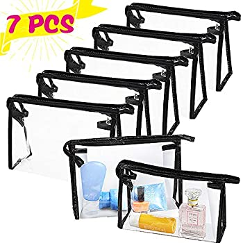 7 PCS Transparent Waterproof Cosmetic Bag,Clear Vinyl Plastic Makeup Bags,PVC Vinyl Zippered Makeup Pouch for Bathroom Organizing and Travel Black