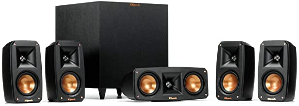 Klipsch Reference Theater Pack 5.1 Channel Surround Sound System, Wireless High Fidelity Subwoofer, Wall Mountable Design,...