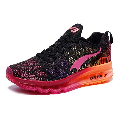 ONEMIX Damen Laufschuhe Turnschuhe Leichtgewichts Mode Sportschuhe Freizeitschuhe Straßenlaufschuhe Sneaker für Outdoor W1118 Black Red 36