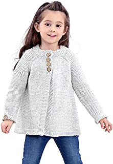Saifeier PJ Toddler Baby Girls Cute Autumn Button Knitted Sweater Crewneck Cardigan Warm Thick Coat Clothes Long Sleeves