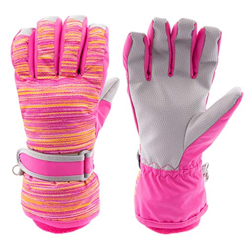 Arctic Quest Kids Boys and Girls Thermal Insulated Performance Water Resistant Windproof Winter Ski and Snowboarding Gloves, Pink Spacedye, 6-8
