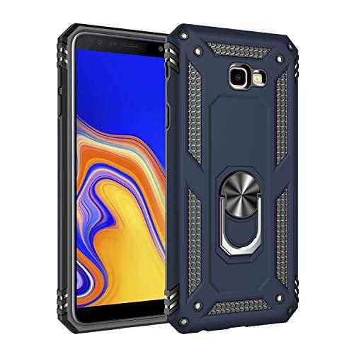 Capa Samsung Galaxy J4 Plus Case Protetor Material militar TPU macio +couro de PC proteção dupla camada de metal magnético para carro Suporte 360 graus girado anti-queda e anti-riscos capa:Azul