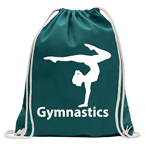 Kiwistar - Gymnastics Turnbeutel Fun Rucksack Sport Beutel Gymsack Baumwolle mit Ziehgurt