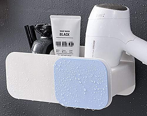No branded Elinala Soporte para Secador de Pelo, Soporte para Secador de Pelo de Pared, Secadora de Cabello con Dos Compartimentos, sin Perforación, Resistente al Agua, Adhesivo Fuerte. (Blanco)