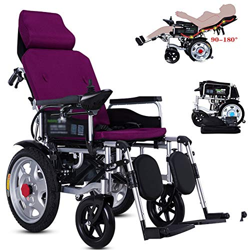 APOAD Faltbarer Power Kompakter Mobilitätshilfe-Rollstuhl, Leichter Elektrischer Elektrorollstuhl, Tragbarer Roller, Unterstützt 330lb, Mit Pedalen Und Sitzen,ältere Und Behinderte Menschen,Lila