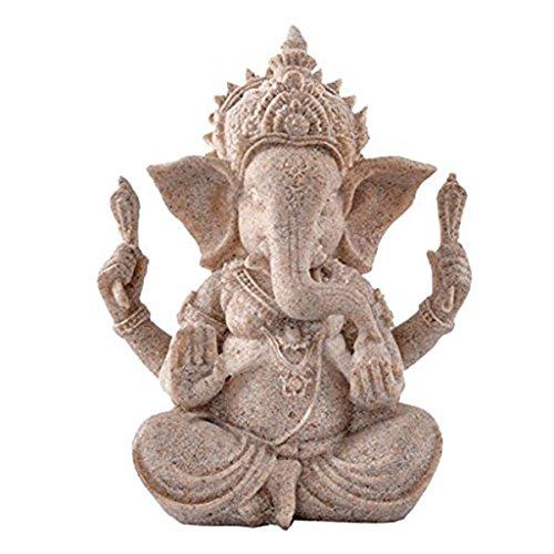 PIXNOR Estatua de elefante de Ganesha Buddha de piedra arenisca escultura estatuilla hecha a mano