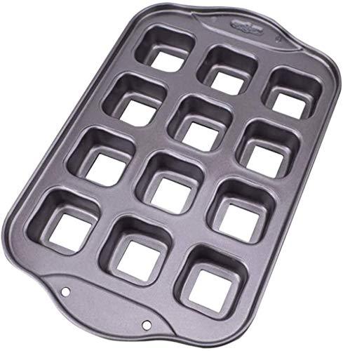 12 Cavities Square Brownie-Kuchenform Antihaft-Petite-Brownie-Pfanne Cavity-Backform ideal für Brownies, Kuchen und Riegelkekse Backblech-Muffinform