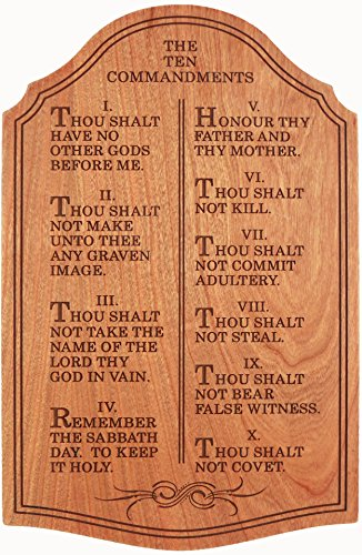 The Ten Commandments | Laser Engraved Solid Cherry | Decorative Wall Art Sign Plaque | 12 Inches Tall | by LilyMarie