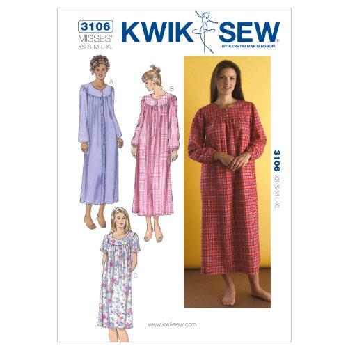 Kwik Sew Mustern K3106Größe XS/Small/Medium/Large/Extra Große Nightgowns, weiß, 1Stück