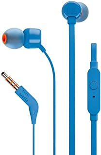 JBL T110 wired in-Ear Headphones Headset With a stunning user friendly design and Pure Bass sound, one button remote with microphone, tangle-free flat cable - Blue