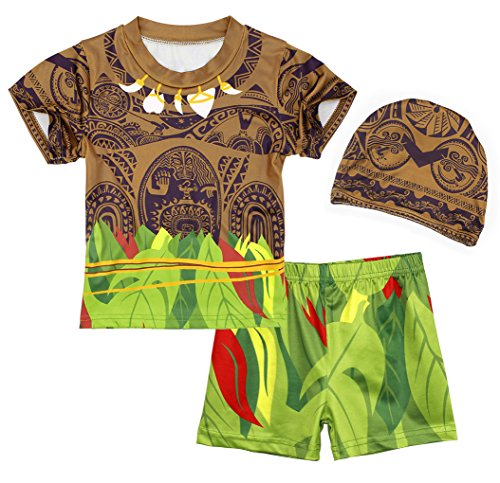 AmzBarley Baby Jungen Bademode Kleinkinder-Badebekleidung kurzärmliges 3er Set (Top + Swimming Shorts Trunks + Cap)