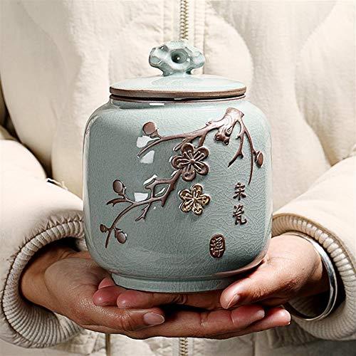 ZWSHOP Céramique Tea Caddy, chinois ménages Réservoir de stockage étanche à l'humidité étanche à thé Accessoires, peut contenir 300g thé