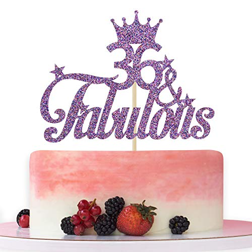 Purple Glitter 36 & Fabulous Cake Topper - 36th Birthday Cake Decorating - Happy 36th Anniversary/Birthday Party Decoration Supplies