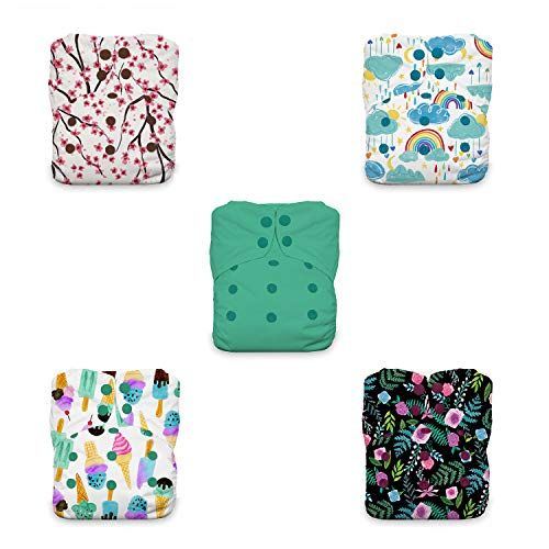 Thirsties Bundle of Love Cloth Diaper Collection Package, Snap One Size All in One Cloth Diaper, Bundle of Love