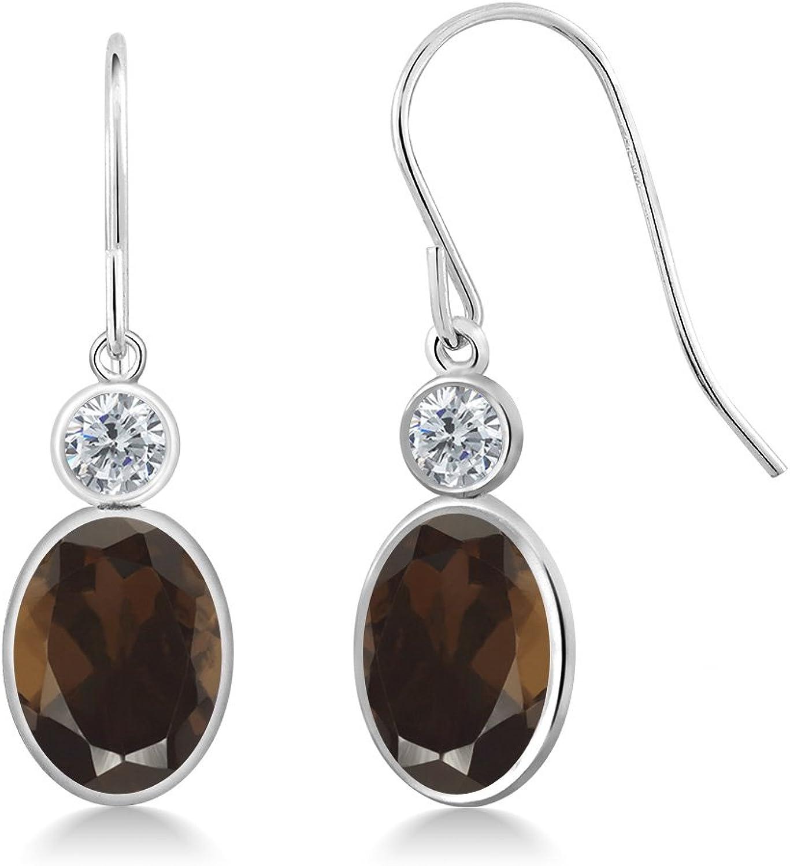 2.60 Ct Oval Brown Smoky Quartz G H Diamond 14K White gold Earrings