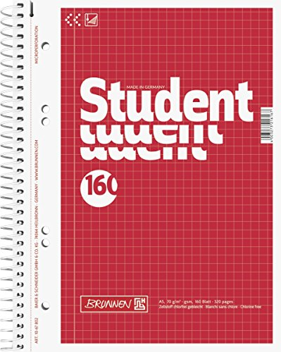 Brunnen 1067802 Notizblock / Collegeblock Student (A5, kariert, 70 g/m², 160 Blatt)