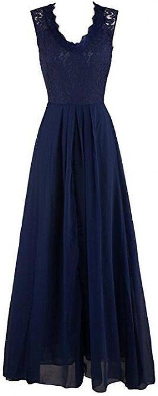 AK Beauty Women's VNeck Lace Evening Dresses ALine Sleeveless Maxi Dresses