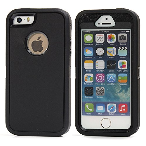 iPhone SE Case,(1nd gen) Lordther [ShieldOn Series] Hybrid Synthetic Rubber TPU Covers with Screen Protector Only for iPhone SE 5SE 5 5s (Black)