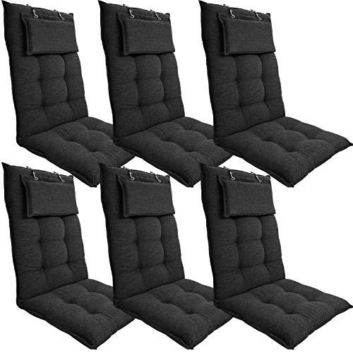 DILUMA | Hochlehner Auflagen 6er Set 119x50 cm Luxor Anthrazit mit Kopfpolster | Luxus Stuhlauflage mit 8 cm Polsterung