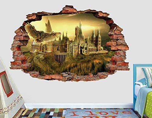 Pegatinas de pared Hogwarts calcomanía de pared aplastante de la escuela calcomanía de niños calcomanía de niños calcomanía de arte 3d vinilo de