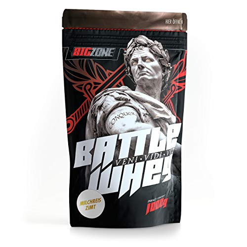 Big Zone BATTLE WHEY | Whey Protein Concentrate Eiweiss | Lecker Qualität Made in Germany | 1000g 1KG Pulver (Milchreis Zimt)